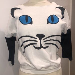 Vintage off the shoulder Cat crop sweater